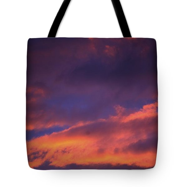 Clouds In Sky With Pink Glow Tote Bag by Richard Wear
