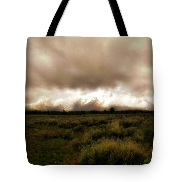 Clouds Over The Tetons Tote Bag by Ellen Heaverlo