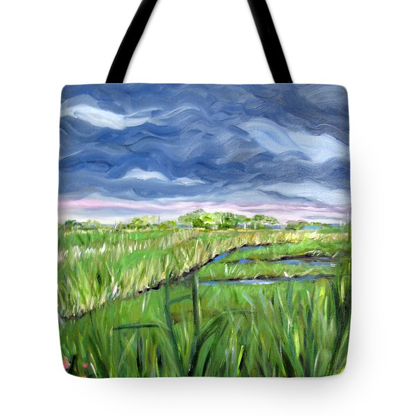 Cloudy Marsh Tote Bag by Clara Sue Beym