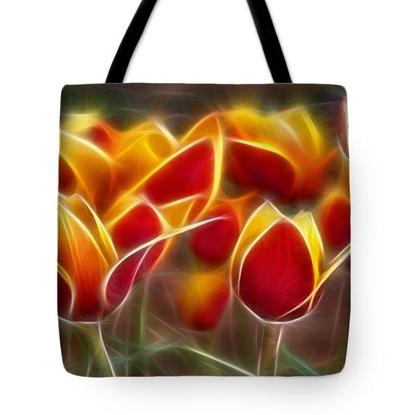 Cluisiana Tulips Fractal Tote Bag by Peter Piatt