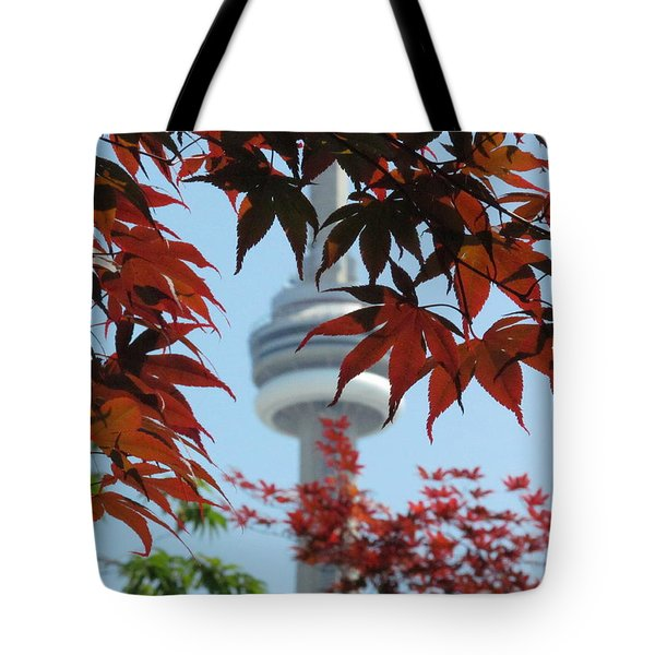 Cn Tower With Japanese Maple Tote Bag by Alfred Ng