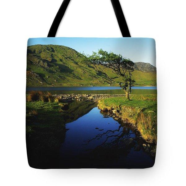 Co Galway, Kylemore Lough, Benbaun Tote Bag by The Irish Image Collection