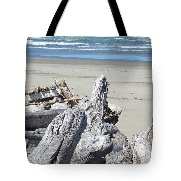 Coastal Driftwood Art Prints Blue Waves Ocean Tote Bag by Baslee Troutman