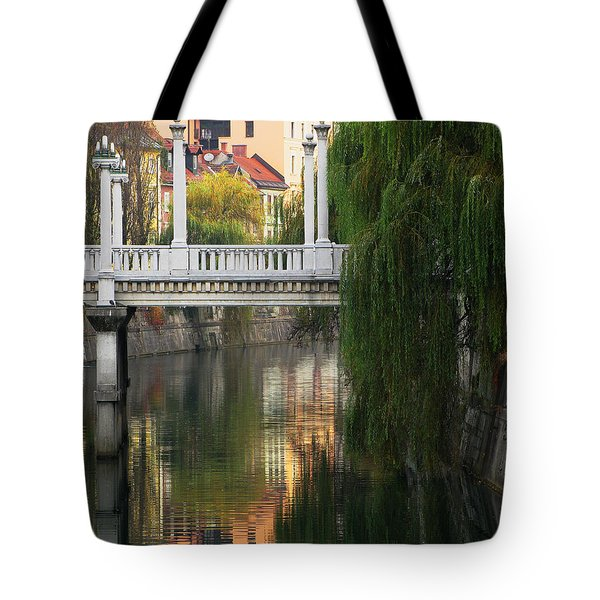 Cobblers Bridge And Morning Reflections In Ljubljana Tote Bag by Greg Matchick