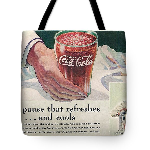 Coca Cola 1937 Tote Bag by Georgia Fowler