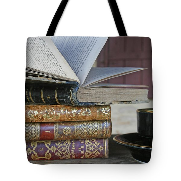 Coffee Break With Books Tote Bag by Nomad Art And  Design