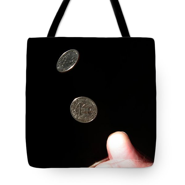 Coin Flipping Tote Bag by Ted Kinsman