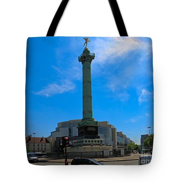 Colonne de Juillet and Opera de Paris Bastille Tote Bag by Louise Heusinkveld