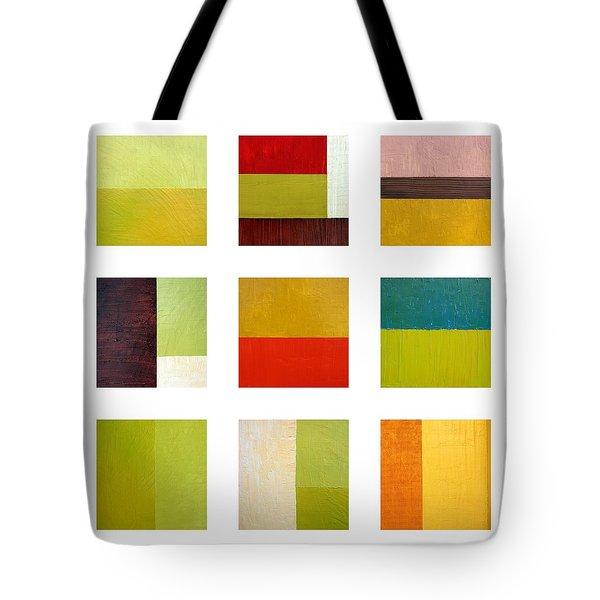 Color Study Abstract Collage Tote Bag by Michelle Calkins