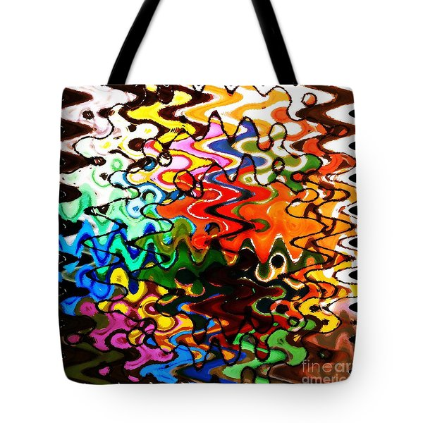 Colorful Abstract Design Square Tote Bag by Carol Groenen