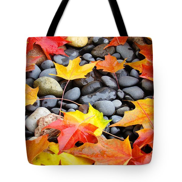 Colorful Autumn Leaves Prints Rocks Tote Bag by Baslee Troutman