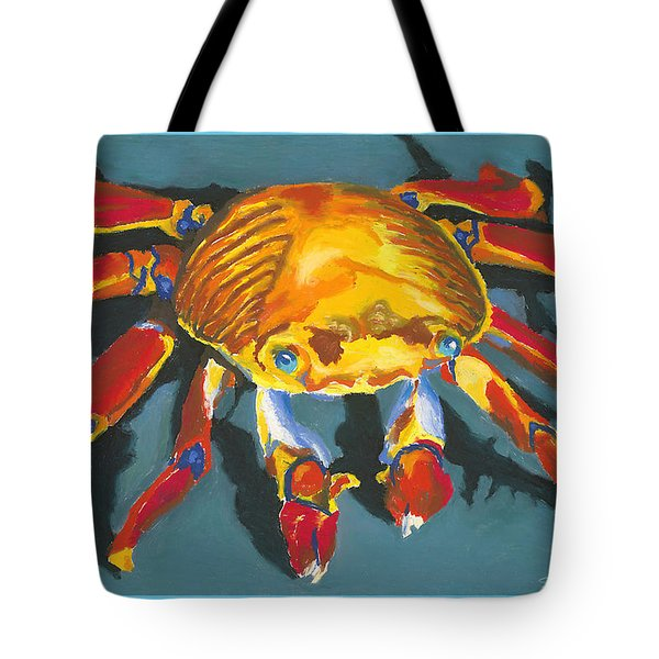 Colorful Crab With Border Tote Bag by Stephen Anderson
