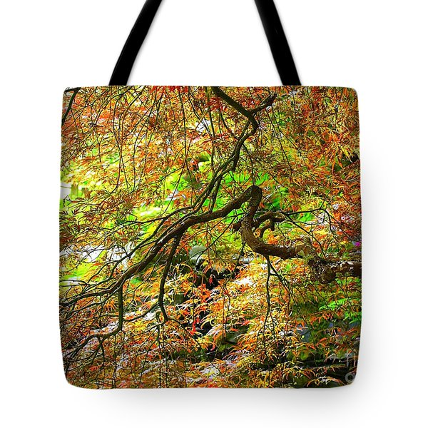 Colorful Maple Leaves Tote Bag by Carol Groenen