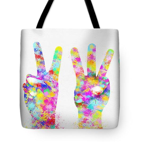Colorful Painting Of Hands Number 0-5 Tote Bag by Setsiri Silapasuwanchai