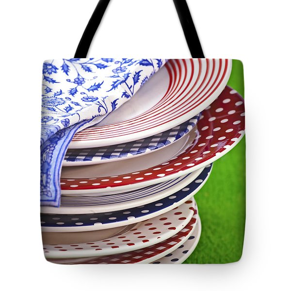 Colorful Plates Tote Bag by Joana Kruse