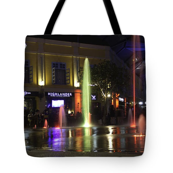 Colorful Water Jets At Clarke Quay In Singapore Tote Bag by Ashish Agarwal