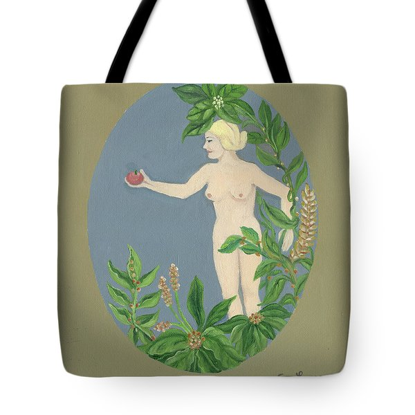 Come And Get It Eva Offers A Red Apple  To Adam In Green Vegetation Leaves Plants And Flowers Blond  Tote Bag by Rachel Hershkovitz