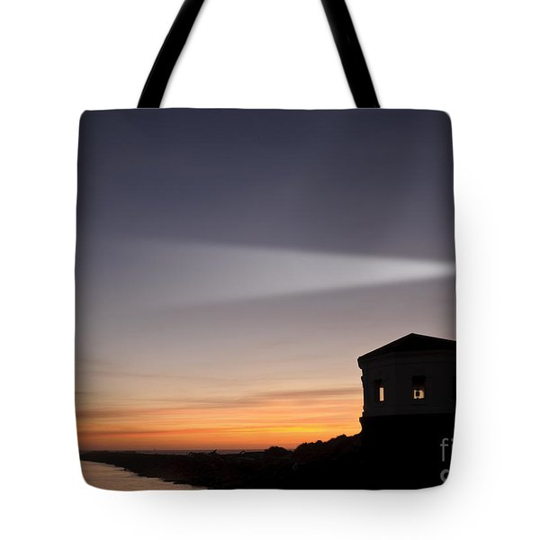 Coquille River Lighthouse Tote Bag by John Shaw and Photo Researchers