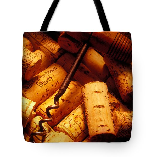 Corkscrew and wine corks Tote Bag by Garry Gay