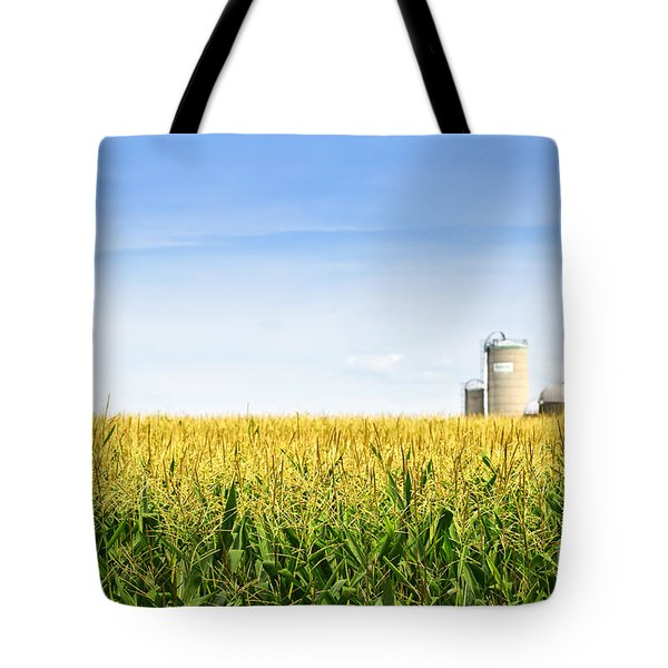 Corn Field With Silos Tote Bag by Elena Elisseeva