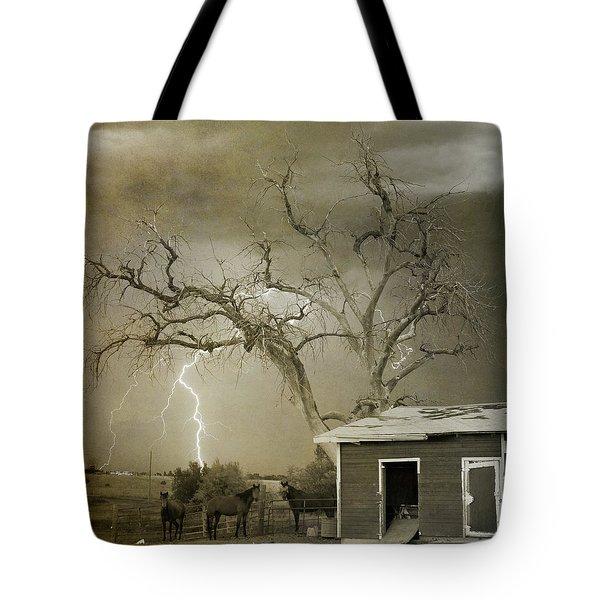 Country Horses Lightning Storm Ne Boulder Co 66v Bw Art Tote Bag by James BO  Insogna