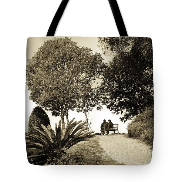 Couple on the Bench in Venice Tote Bag by Madeline Ellis