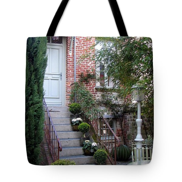 Courtyard In Honfleur Tote Bag by Carla Parris