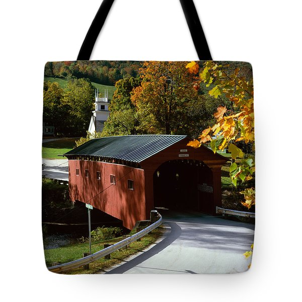 Covered Bridge in Vermont Tote Bag by Rafael Macia and Photo Researchers