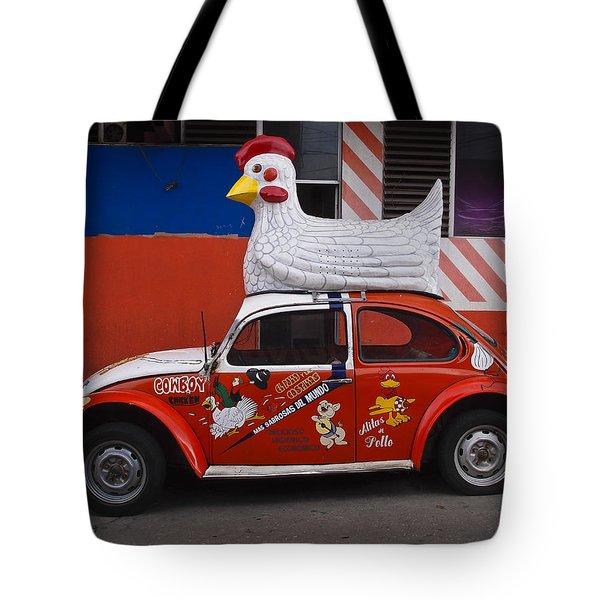 Cowboy Chicken Tote Bag by Skip Hunt