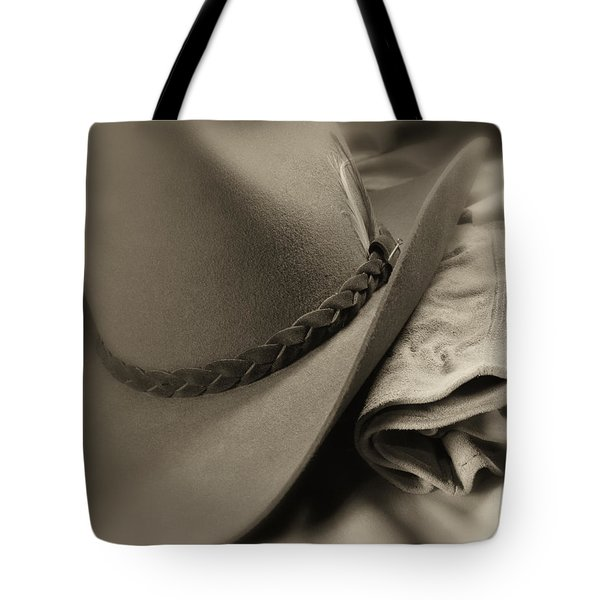 Cowboy Hat And Gloves Tote Bag by Tom Mc Nemar