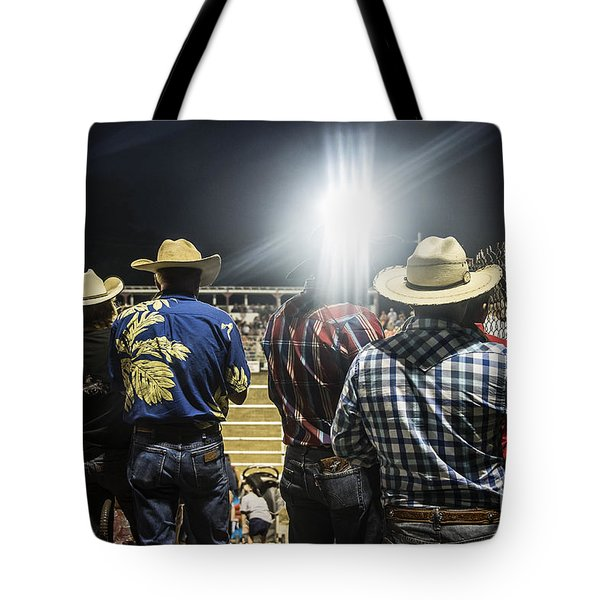 Cowboys at Rodeo Tote Bag by John Greim