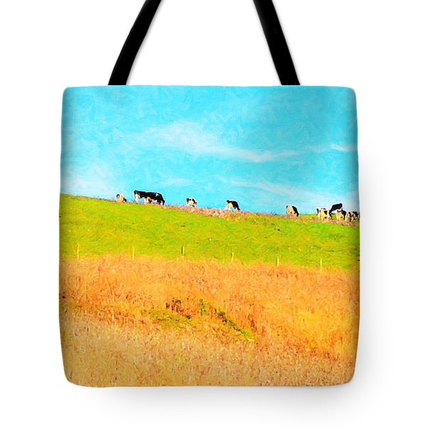 Cows On A Hill . 40D3430 . Painterly . Long Cut Tote Bag by Wingsdomain Art and Photography