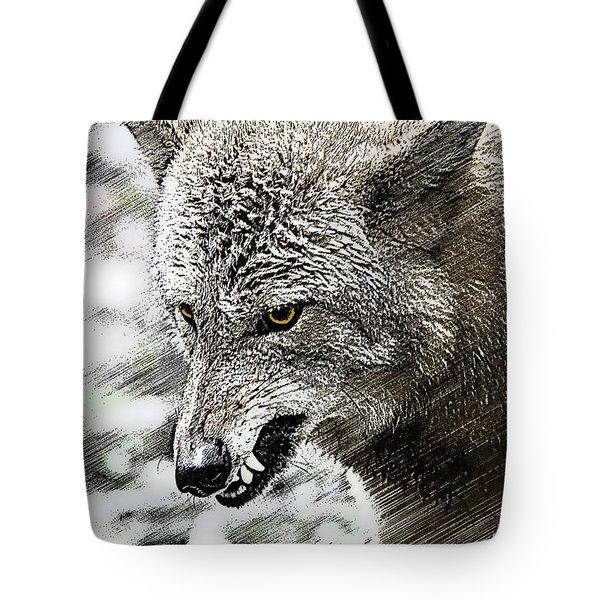 Coyote Snarling Tote Bag by Dan Friend