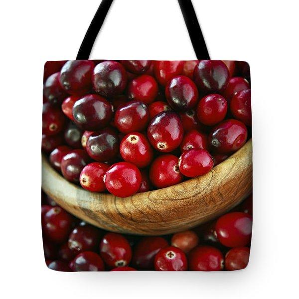 Cranberries In A Bowl Tote Bag by Elena Elisseeva