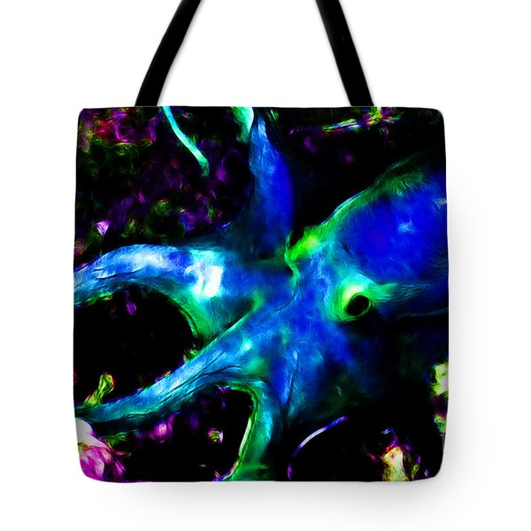 Creatures of The Deep - The Octopus - v3 - Electric - Blue Tote Bag by Wingsdomain Art and Photography