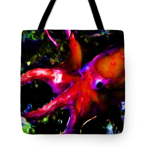 Creatures of The Deep - The Octopus - v3 - Electric - Orange Tote Bag by Wingsdomain Art and Photography