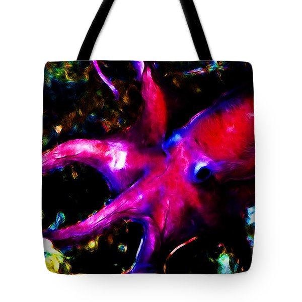 Creatures Of The Deep - The Octopus - V3 - Electric - Red Tote Bag by Wingsdomain Art and Photography