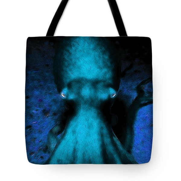Creatures of The Deep - The Octopus - v4 - Cyan Tote Bag by Wingsdomain Art and Photography