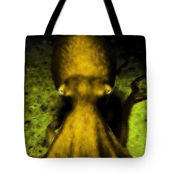 Creatures of The Deep - The Octopus - v4 - Gold Tote Bag by Wingsdomain Art and Photography