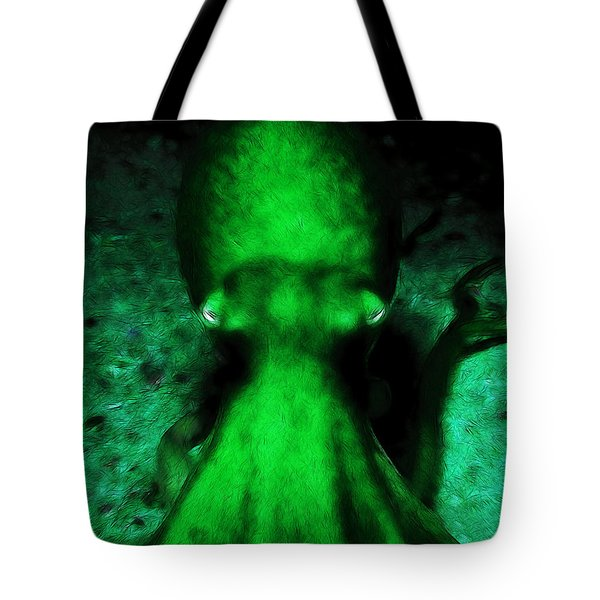 Creatures of The Deep - The Octopus - v4 - Green Tote Bag by Wingsdomain Art and Photography
