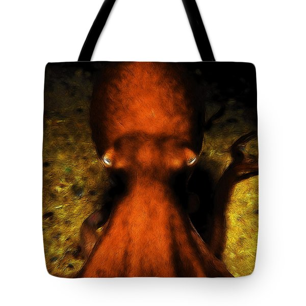 Creatures Of The Deep - The Octopus - V4 - Orange Tote Bag by Wingsdomain Art and Photography
