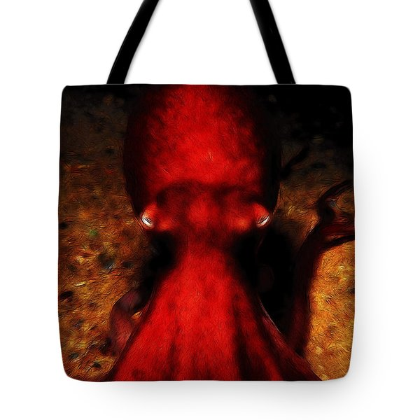 Creatures of The Deep - The Octopus - v4 - Red Tote Bag by Wingsdomain Art and Photography