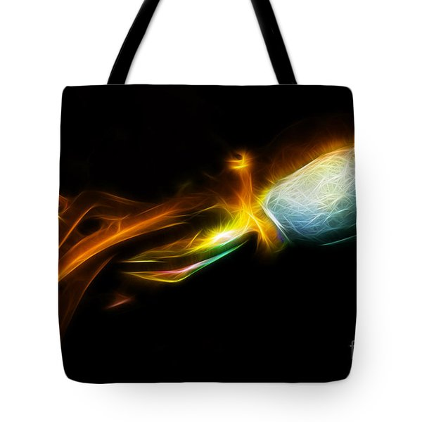 Creatures of The Deep - The Octopus - v5 - Electric - Orange Tote Bag by Wingsdomain Art and Photography
