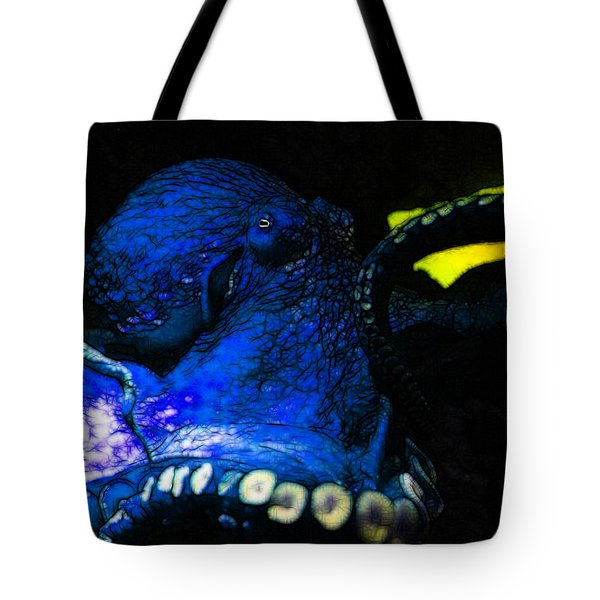 Creatures of The Deep - The Octopus - v6 - Blue Tote Bag by Wingsdomain Art and Photography