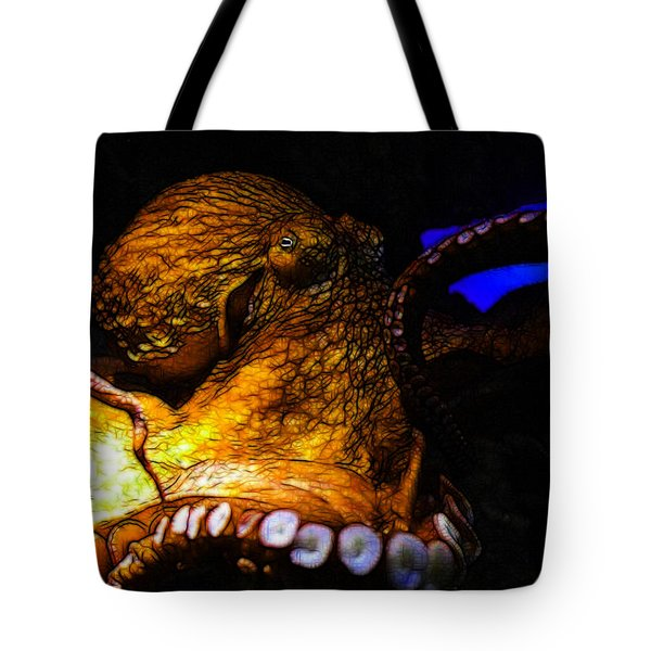 Creatures Of The Deep - The Octopus - V6 - Gold Tote Bag by Wingsdomain Art and Photography