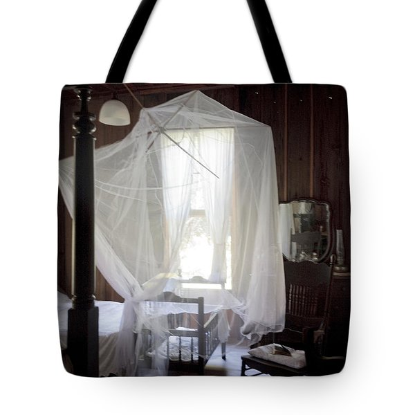 Crib With Mosquito Netting In A Florida Cracker Farmhouse Tote Bag by Lynn Palmer