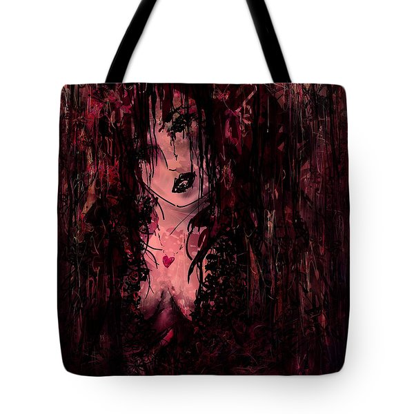 Crimson Torn Lace Tote Bag by Rachel Christine Nowicki