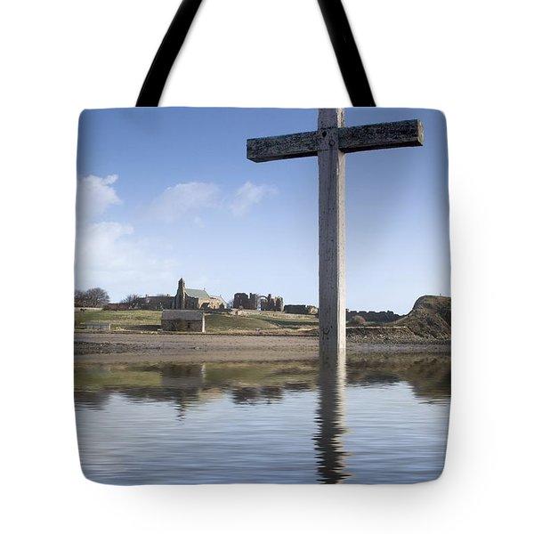 Cross In Water, Bewick, England Tote Bag by John Short
