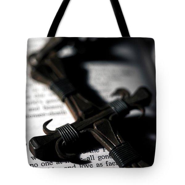 Cross On A Book Tote Bag by Fabrizio Troiani