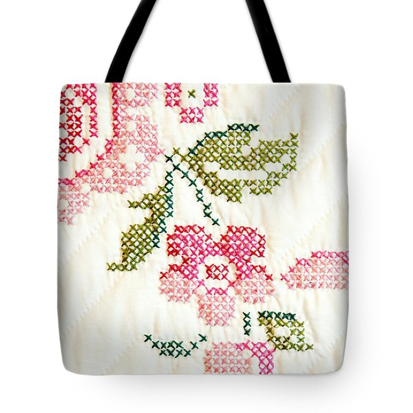 Cross Stitch Flower 1 Tote Bag by Marilyn Hunt
